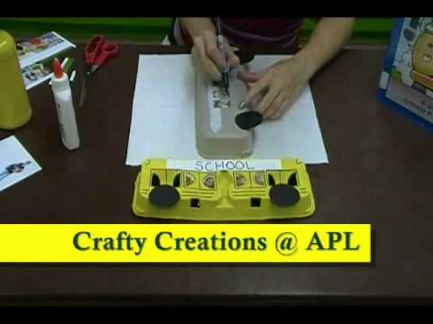 Crafty Creations 56: Egg Carton Schoolbus & Apple Core Magnets
