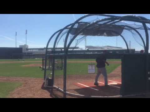 Mookie Betts, Andrew Benintendi, Jackie Bradley Jr. take BP on Feb. 17, 2017