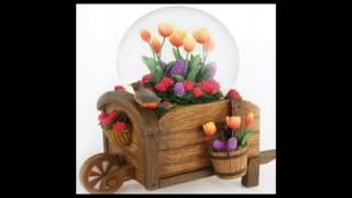 Wheelbarrow & Flowers Musical Snow Globe Summer Time Rotating Blows Glitter