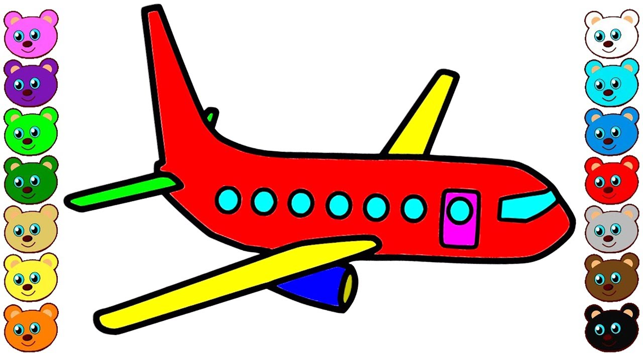 Airplane colorful. Coloring for kids with