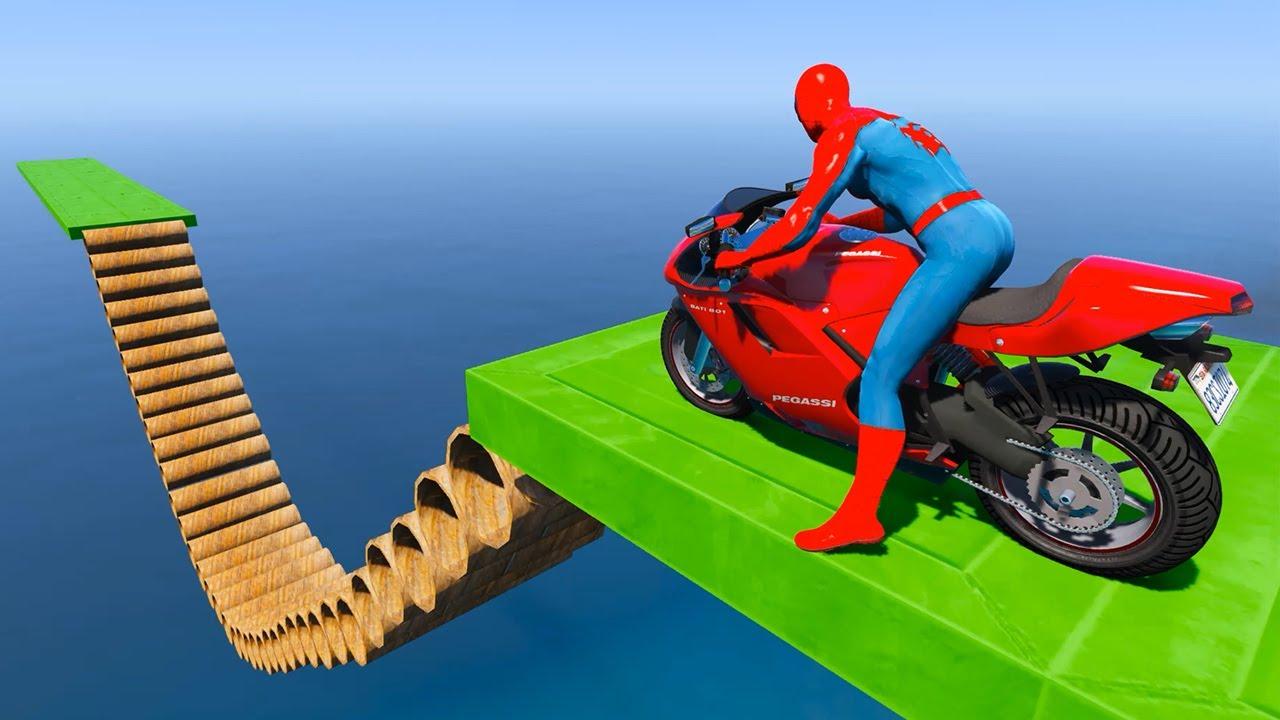 Spiderman Tube Slide Bike Parkour GTA 5 BMX Bicycles - Bicicleta Deslizante Tubo Homem-Aranha
