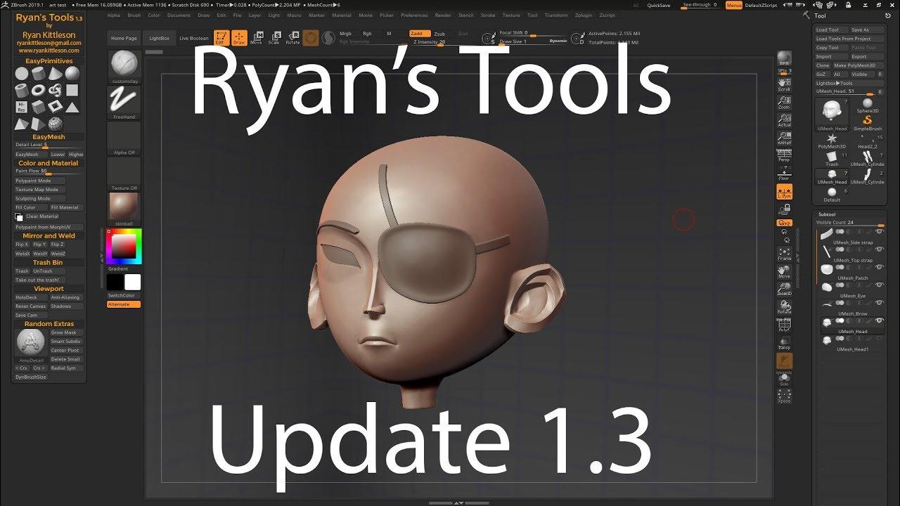 Ryan's Tools Free ZBrush Plugin - Free Assets