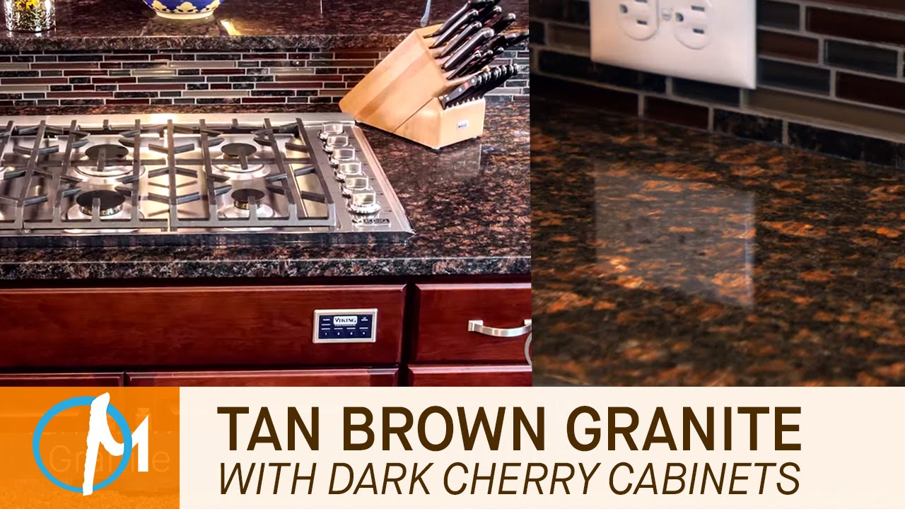 Tan Brown Granite Kitchen Countertops With Dark Cherry Cabinets ...