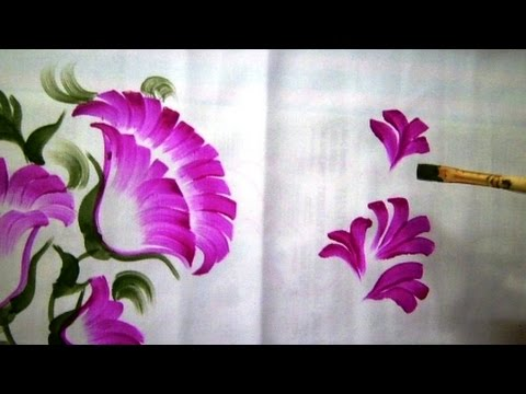 One Stroke Fabric Painting   How To Paint Bed Sheet By Premlata