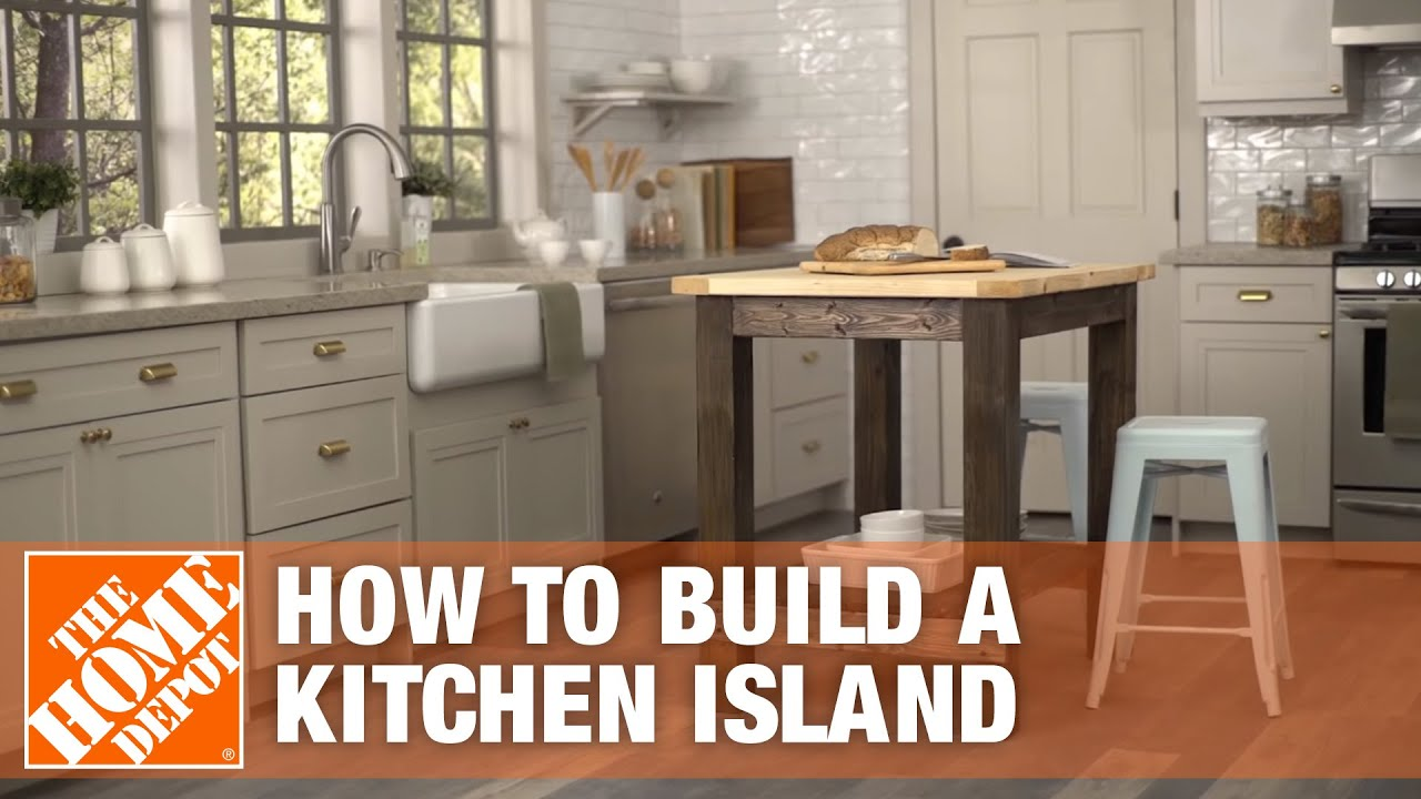 kitchen island home depot wood cabinets diy build the youtube