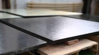 Lava stone glazed tiles, custom made countertops and sinks: inside the craftmen workshops.