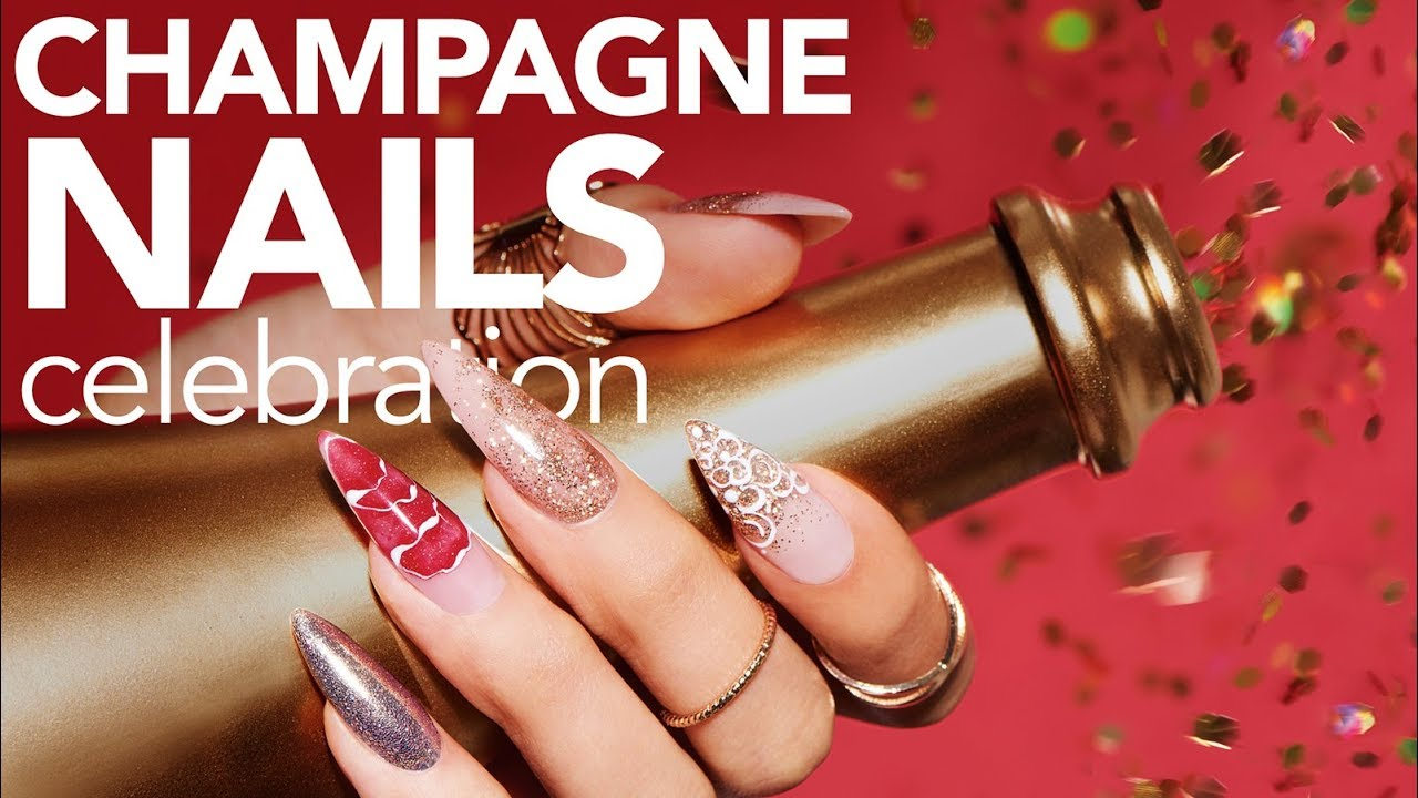 Champagne Nail Art With Young Nails Glitter Pressfade Ombre