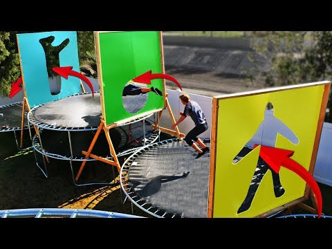 Parkour through Impossible Shapes in our Backyard Trampoline Park!!