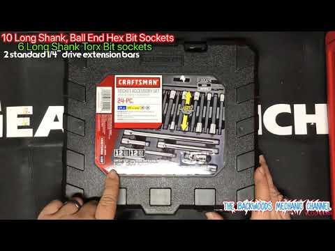 "Craftsman 24 Piece Long Shank Hex Torx Socket Accessory Set Model #30024 1/4"" 3/8"" Sears #DealAlert"