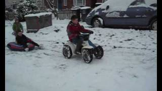 Cover images George and Ryan out on mini quad bikes in the snow