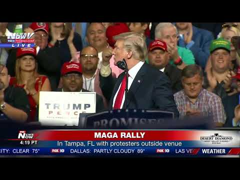 MAGA RALLY: President Trump in Tampa, FL while protesters & supporters outside venue