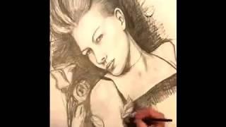 كيفية رسم بورتري جميل لـ فتاة بقلم الرصاص..