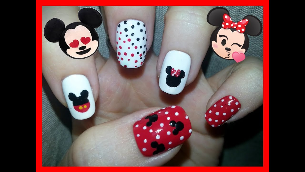 Nail Art - Mickey & Minnie Mouse Nail Design - YouTube