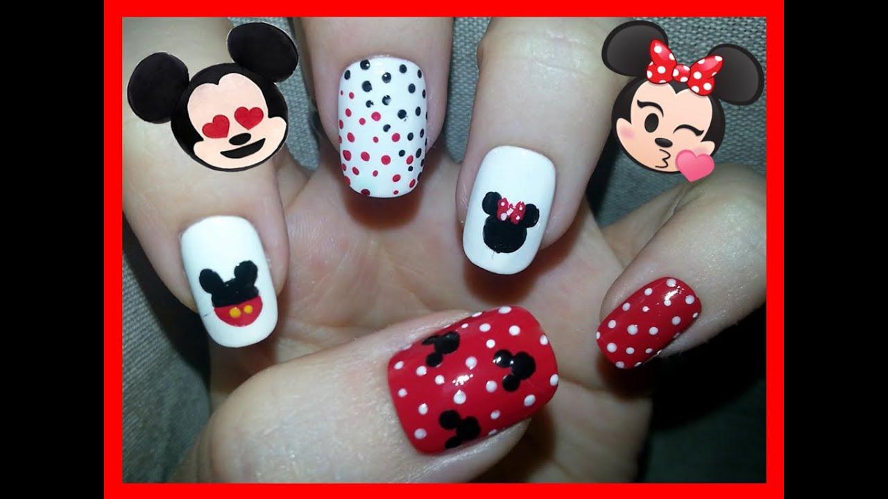 Nail Art - Mickey & Minnie Mouse Nail Design - YouTube