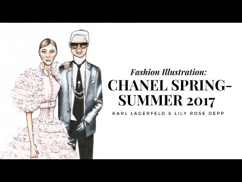 Fashion Illustration: Chanel Spring- Summer 2017 Haute Couture | Karl Lagerfeld & Lily Rose Depp