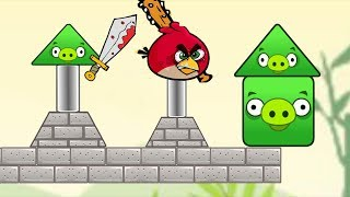 Angry Birds Piggies Out - ONE RED BIRDS TRY TO BEAT ALL THE SQUARE AND TRIANGLE PIGGIES!