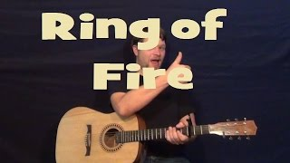 Ring of Fire (JOHNNY CASH) Easy Strum Guitar Lesson How to Play - G C D - 3 Chord Song