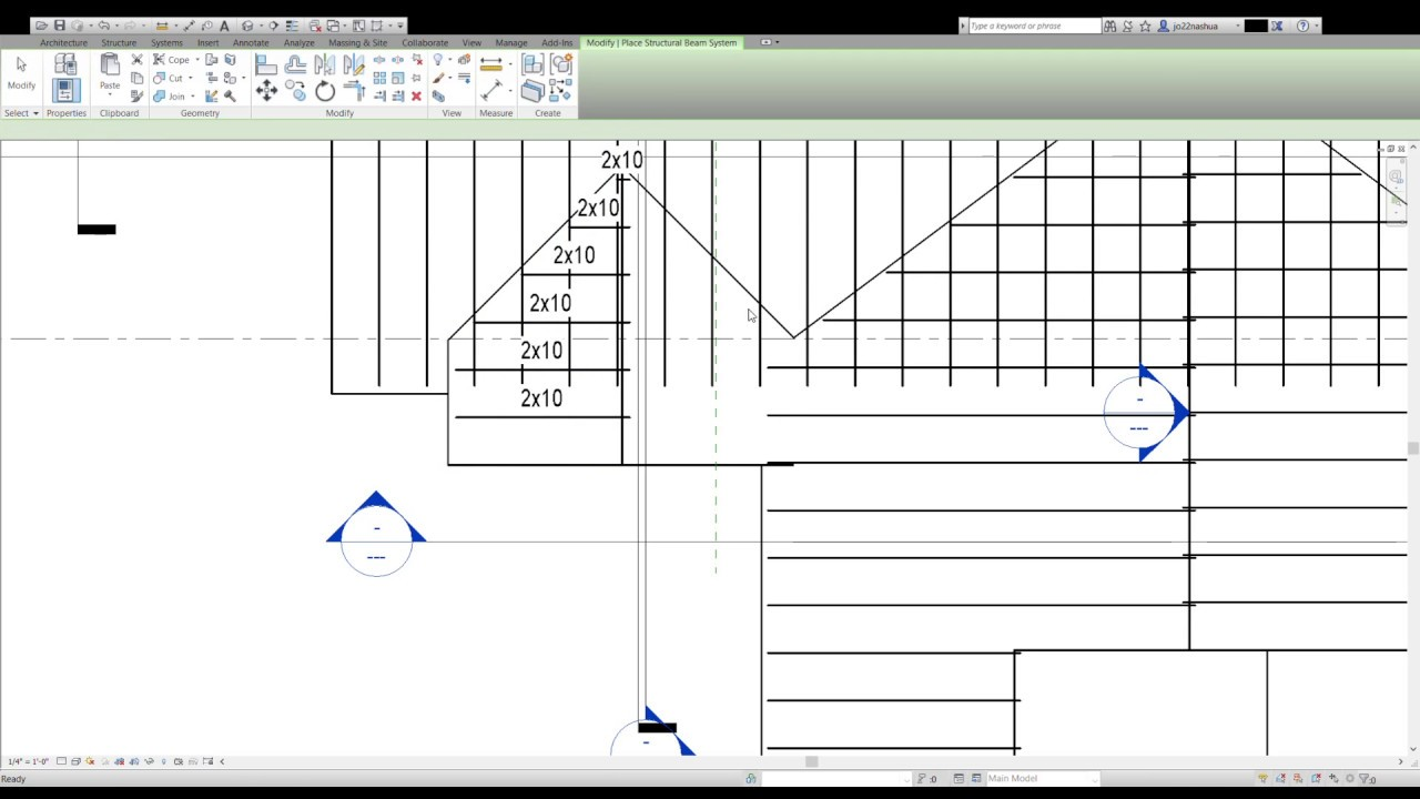 Revit Modeling Roof Rafters On Pitched Roof Youtube