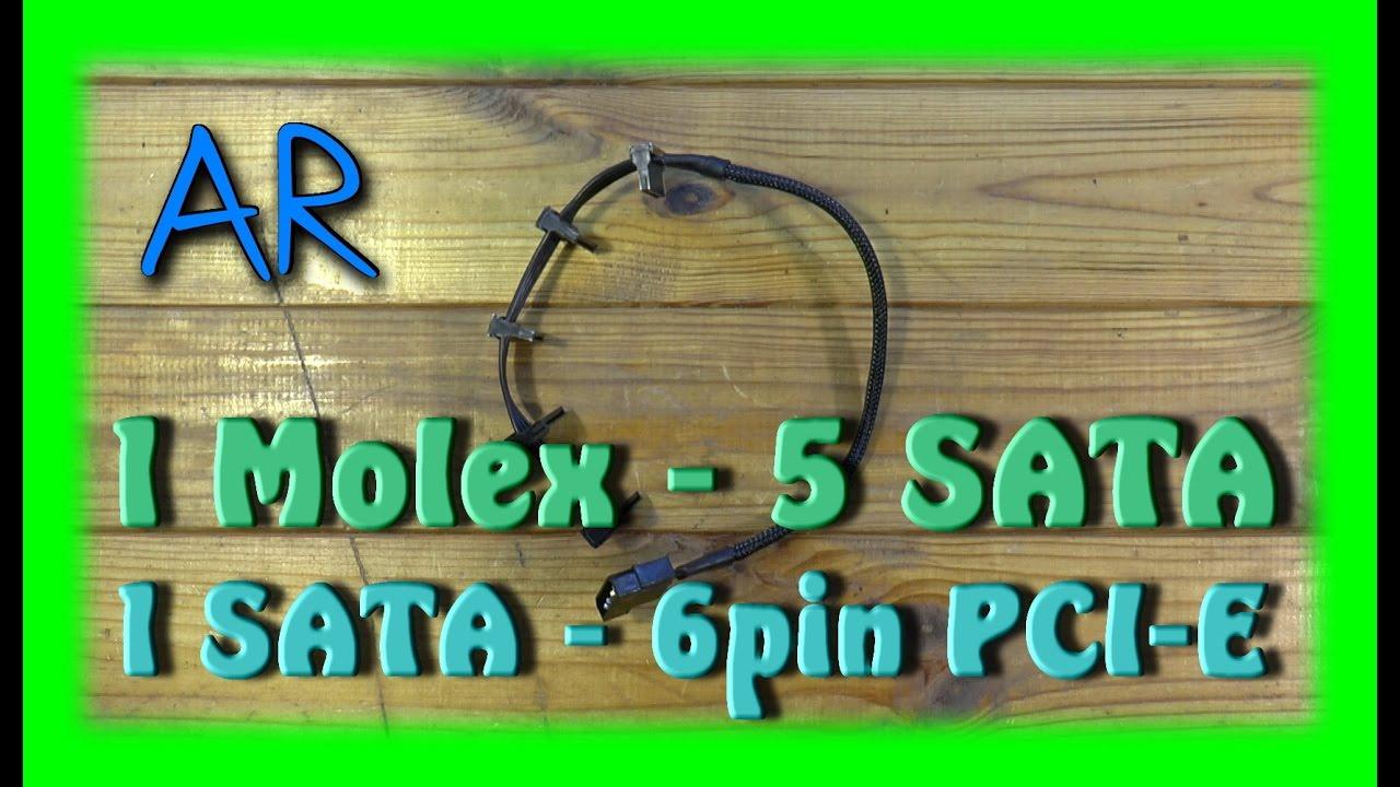 SATA переходники питания (1 Molex - 5 SATA / 1 SATA - <b>6pin PCI</b>-E )