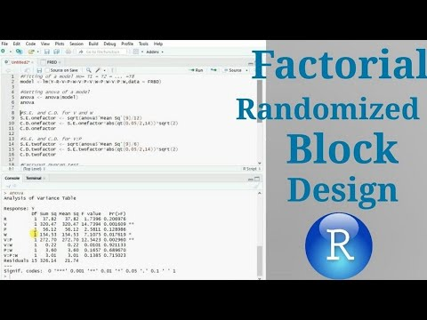 Factorial Randomized Block Design Analysis Along With Lsd Test In R Youtube