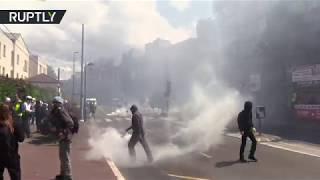 French police tear gases Yellow Vests in Drancy during 30th consecutive weekend of protests
