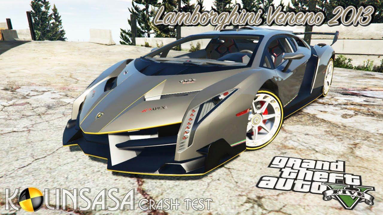 GTA 5 Crash test   Lamborghini Veneno 2013