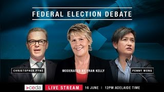 federal election debate christopher pyne and penny wong