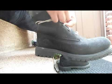 Lacing My Borrowed, Wrecked Timberland Boots With New Balance Shoe Laces