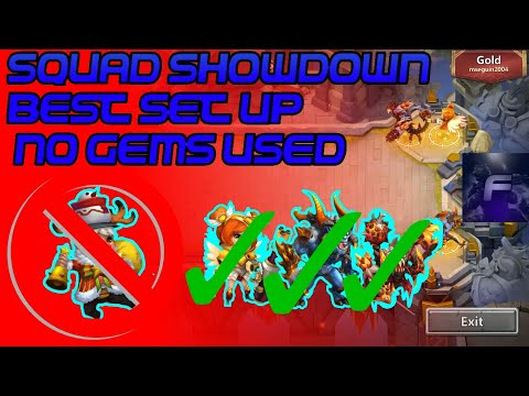 Castle Clash Squad Showdown Best Set Up For Non Gems Used(No Nicks)