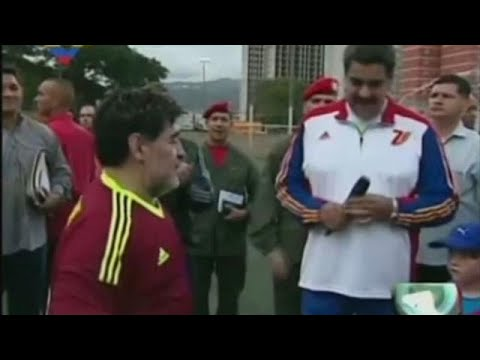 Maradona lends support to embattled Maduro