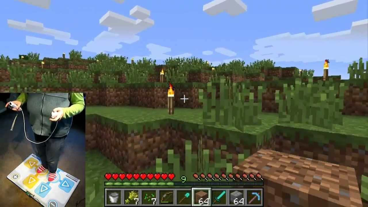Playing Minecraft with a Dance Mat and Wiimote