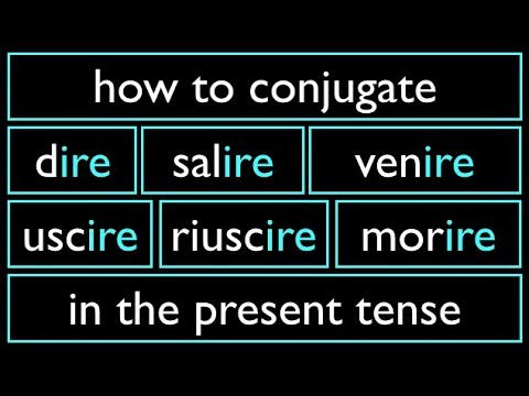 Italian Present Tense 8 Irregular Verbs  -IRE Dire Morire Venire Salire Uscire Riuscire