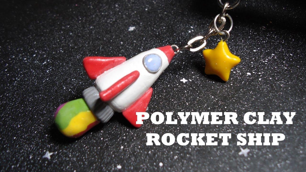 Simple Rocket Ship Keychain  Polymer Clay
