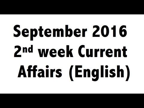 (English) September 2016 2nd Week Best current affairs MCQ GK