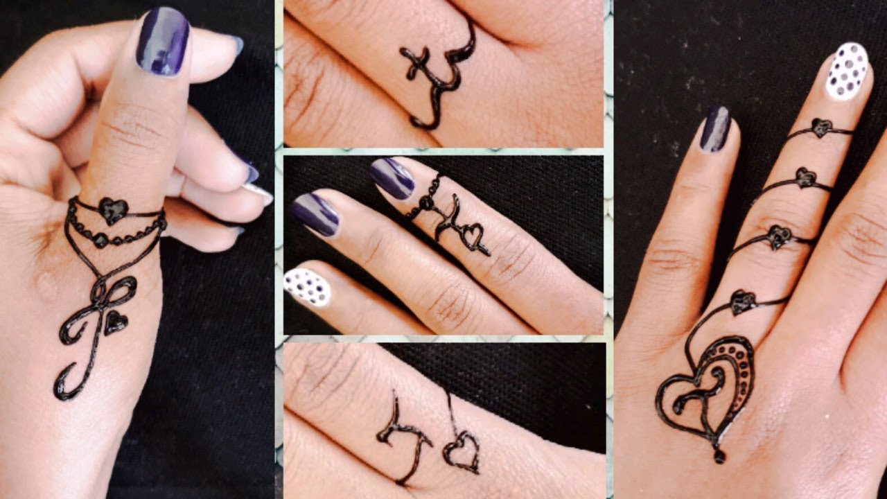 Henna Tattoo Ring Designs: 5 Beautiful T Letter Rings Design With Mehndi
