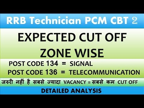 RRB Technician PCM CBT 2 Zone wise Expected Cut Off || RRB CBT 2 EXPECTED  CUT OFF