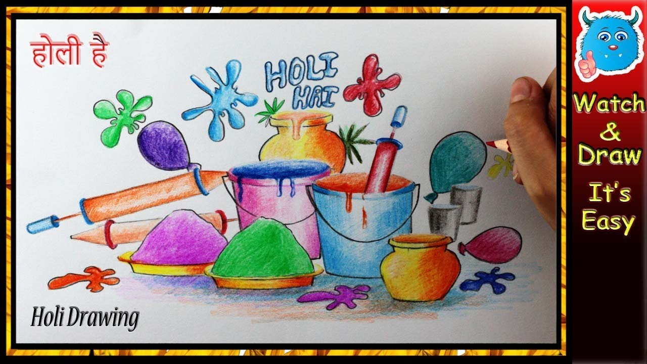Holi Festival Drawing Easy Design Idea For Greeting Card Poster