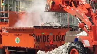 DSNY, NEW YORK CITY DEPARTMENT OF SANITATION USING FRONT LOADERS & SNOW MELTING MACHINE AFTER JONAS.