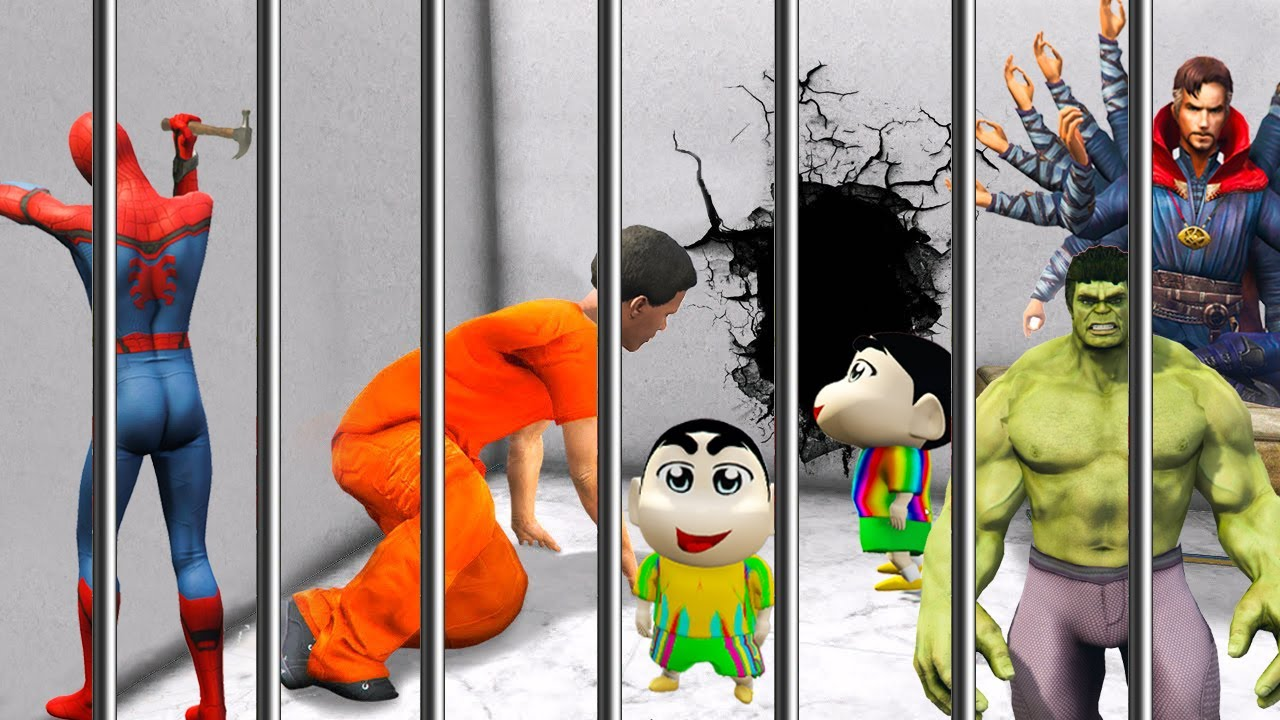 GTA 5 - SHINCHAN & PINCHAN TRY TO ESCAPE THE PRISON IN GTA 5!   (GTA 5 MODS)