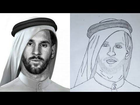 How to draw Lionel  Messi using Headscarf by CARBON PAPER / DRAW MESSI for kids