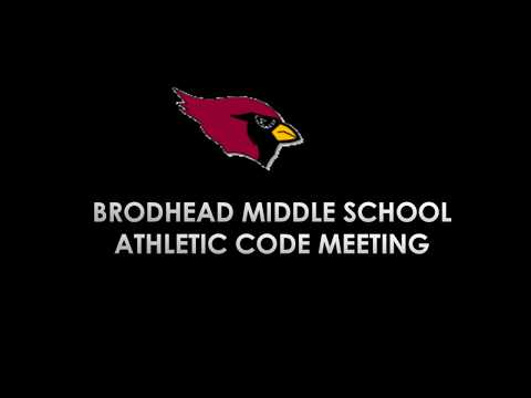 Brodhead Middle School Athletic Code Meeting  2018-2019