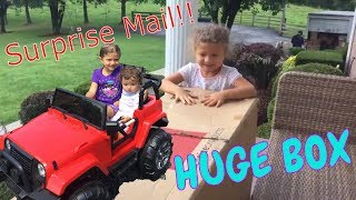 HUGE Surprise Package BOX in MAIL! Ride on Car Jeep -- Gia, Baby Sister and Baby Alive  Play!