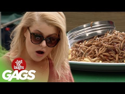 Live Worms Served at Restaurant - Just For Laughs Gags