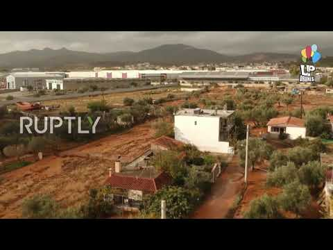 Greece: Drone footage captures widespread flooding near Athens