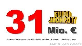 Eurojackpot heute 02.03.2018: Diesen Freitag 31 Mio. € zu gewinnen