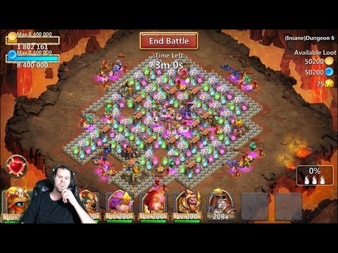 How to 3 Flame INSANE Dungeon 6-4 GET RID OF TOTEMS Castle Clash