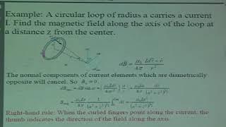 普通物理2 第11堂 Biot Savart Law for a current Element& The field lines for five loops