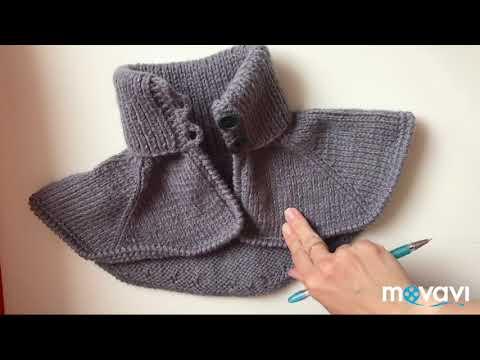 Вязание манишки спицами с пуговицами