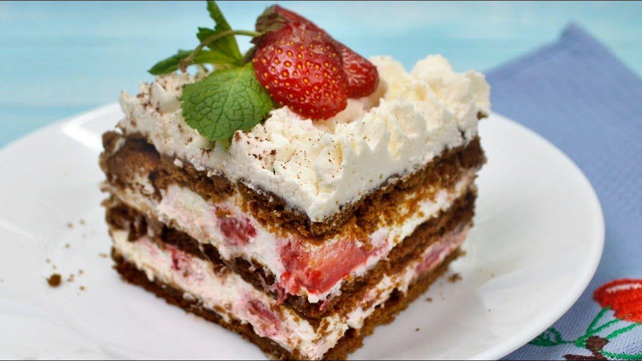 Хочется есть каждый день - творожный торт БЕЗ ВЫПЕЧКИ с клубникой