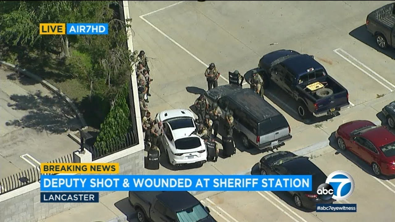 LIVE: Deputy shot and wounded at sheriff's Lancaster station; shooter at large | ABC7